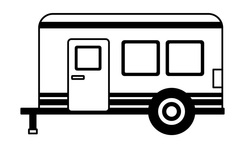 Camper Trailer Clipart black and white