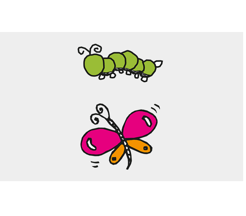 Caterpillar to Butterfly clipart image