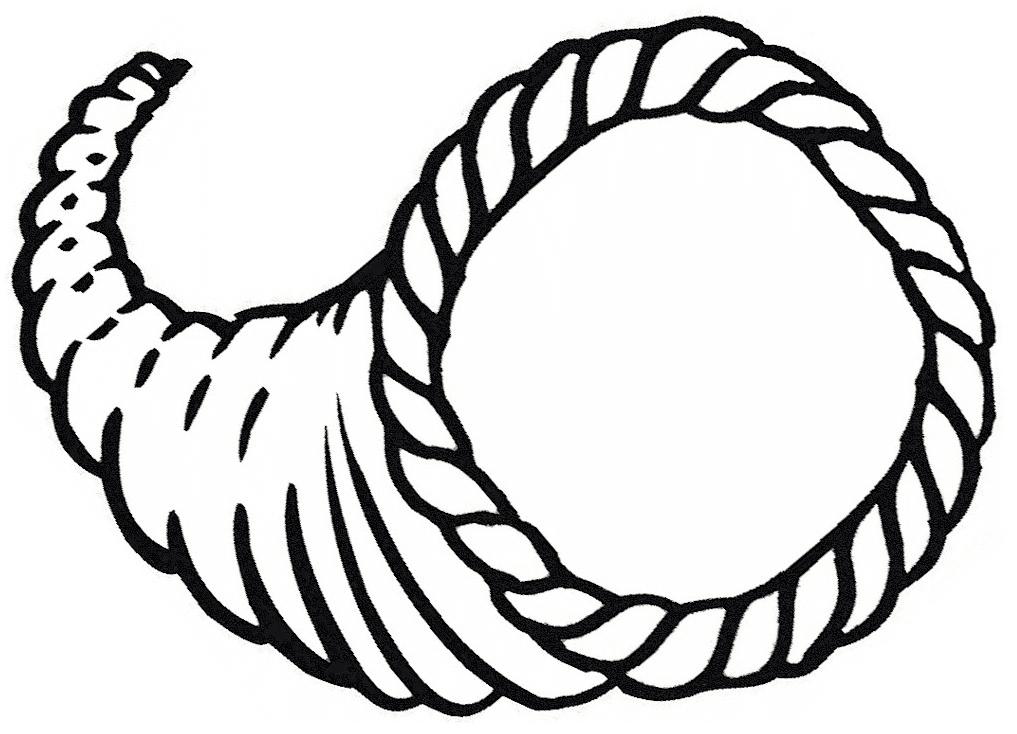Cornucopia Clipart Black and White 1