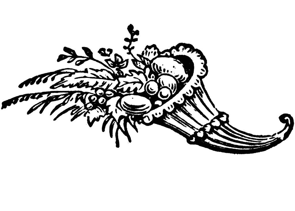 Cornucopia Clipart Black and White 10