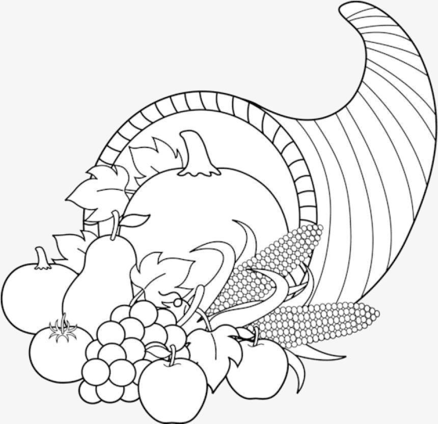 Cornucopia Clipart Black and White 8