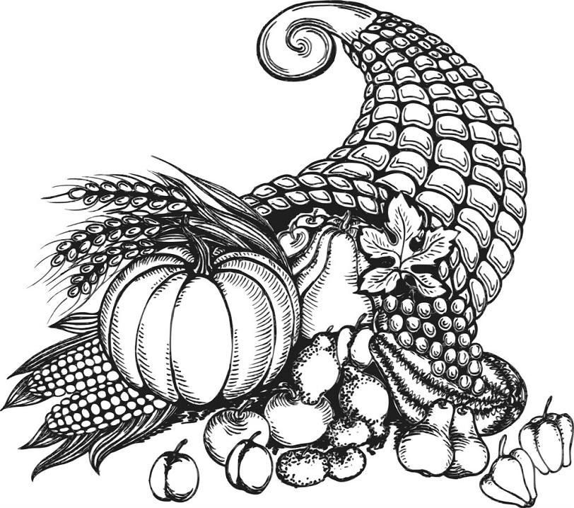 Cornucopia Clipart Black and White image