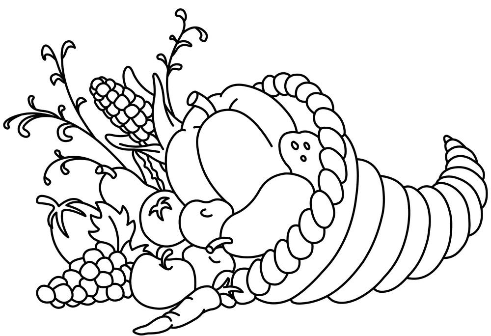 Cornucopia Clipart Black and White png
