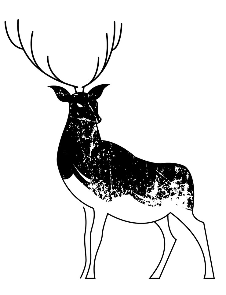 Deer Black and White clipart png images