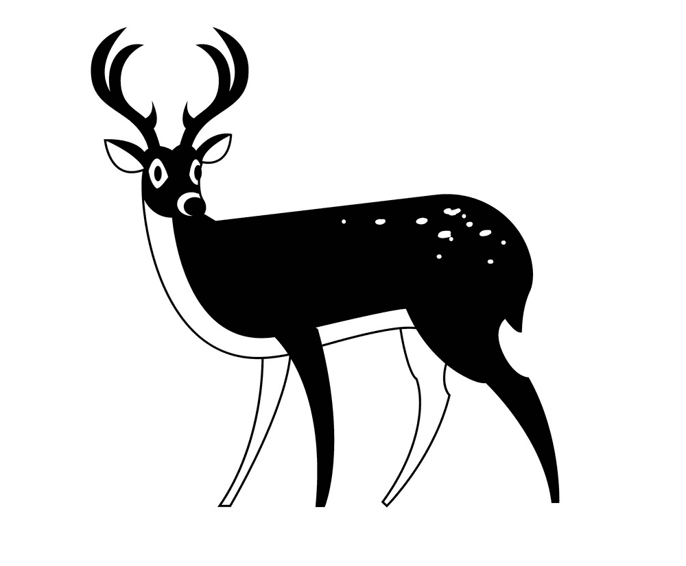 Deer Clipart Black and White free