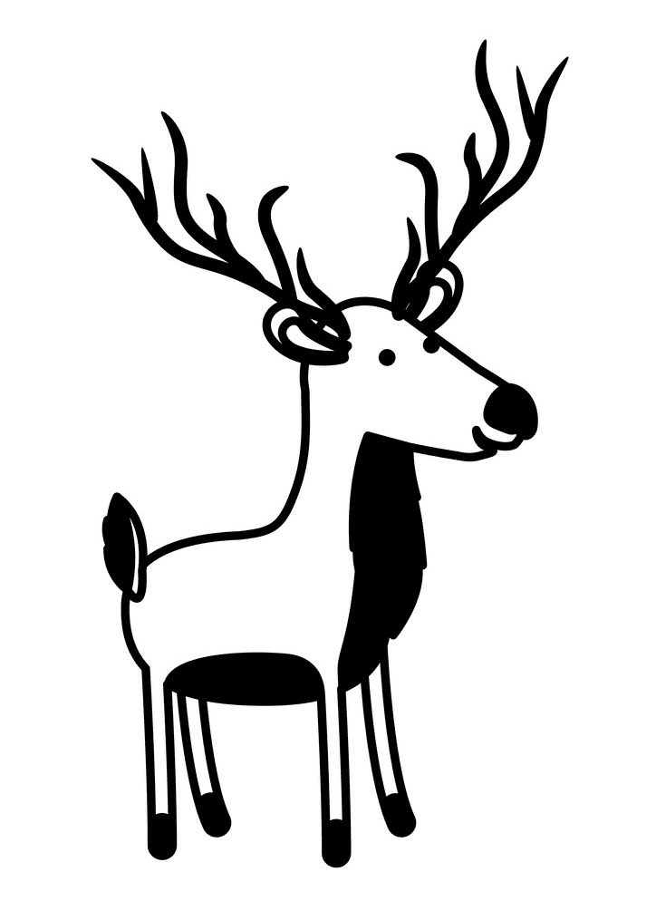Deer Clipart Black and White