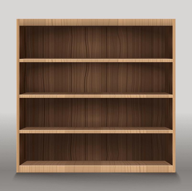 Empty Bookshelf clipart free images