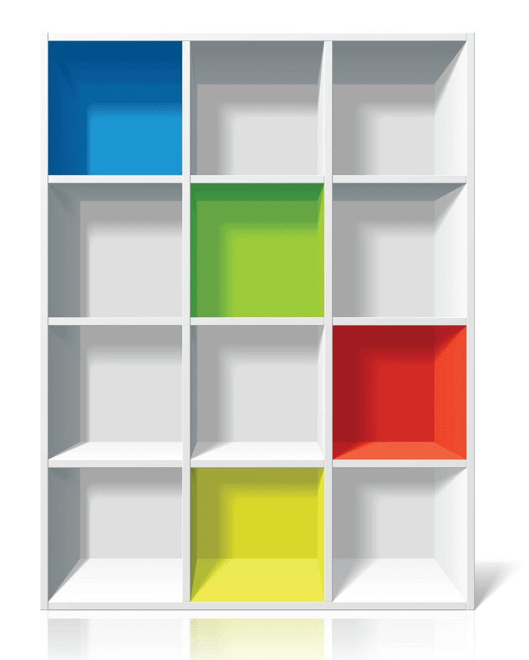 Empty Bookshelf clipart free