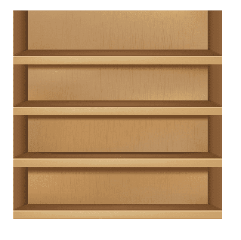 Empty Bookshelf clipart png free