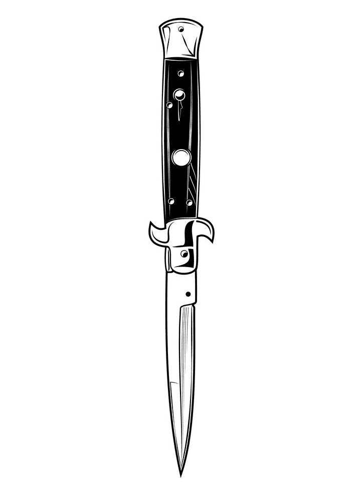 Flick Knife Clipart Black and White