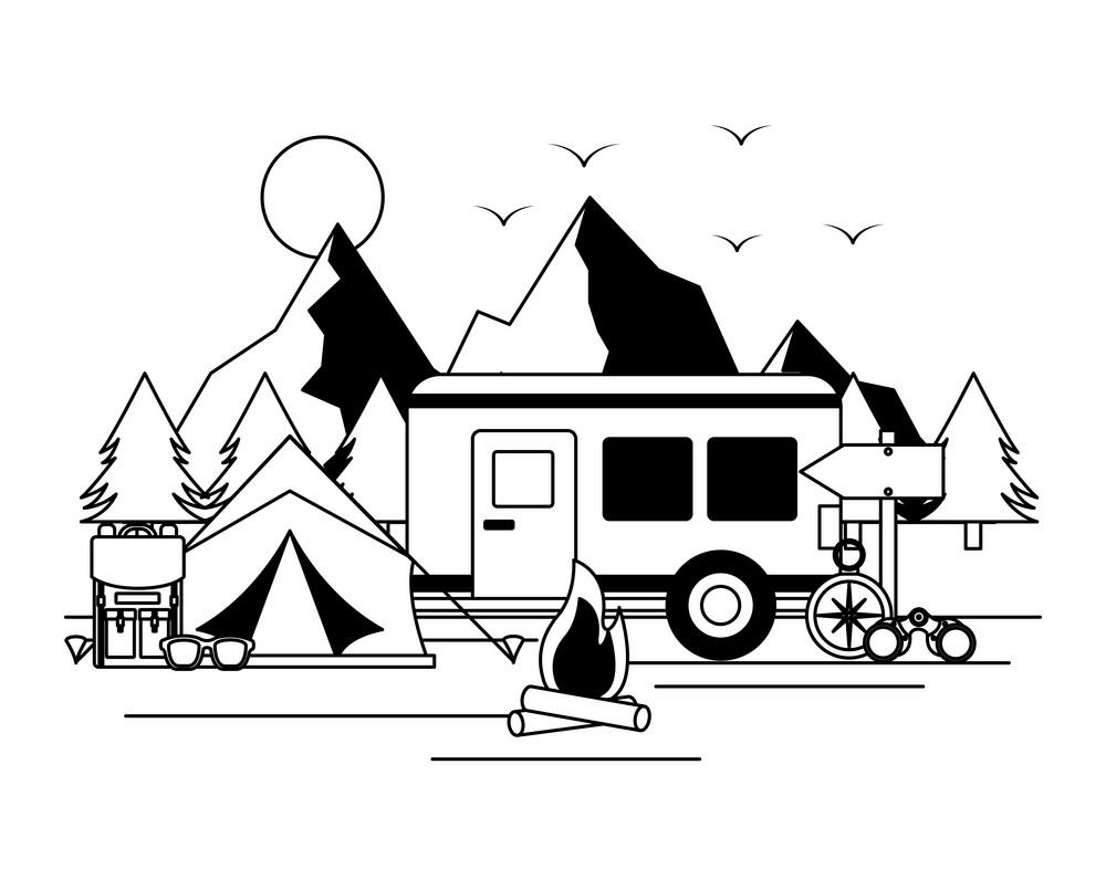 Free Camper Trailer clipart images