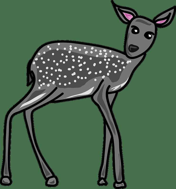 Grey Deer clipart transparent background