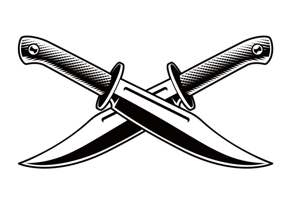 Knives Clipart Black and White