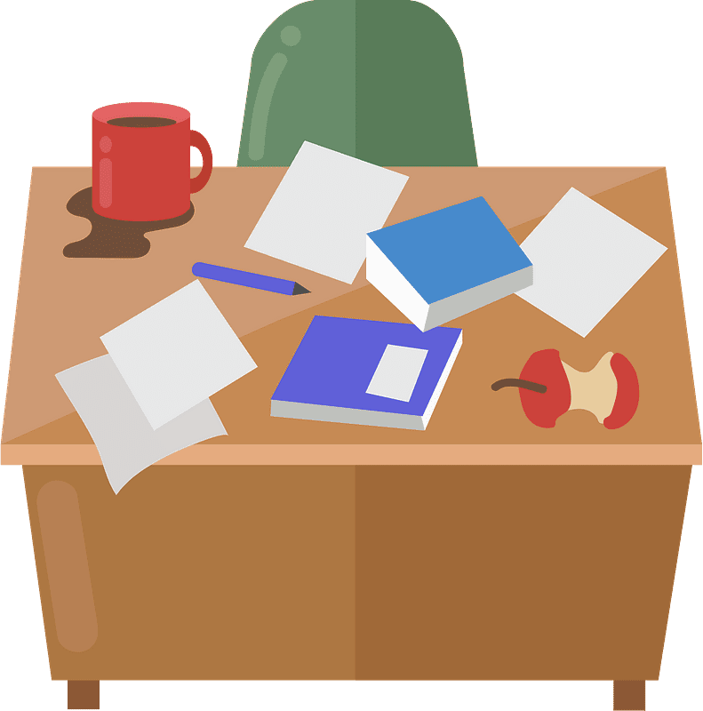 Messy Desk clipart transparent 4