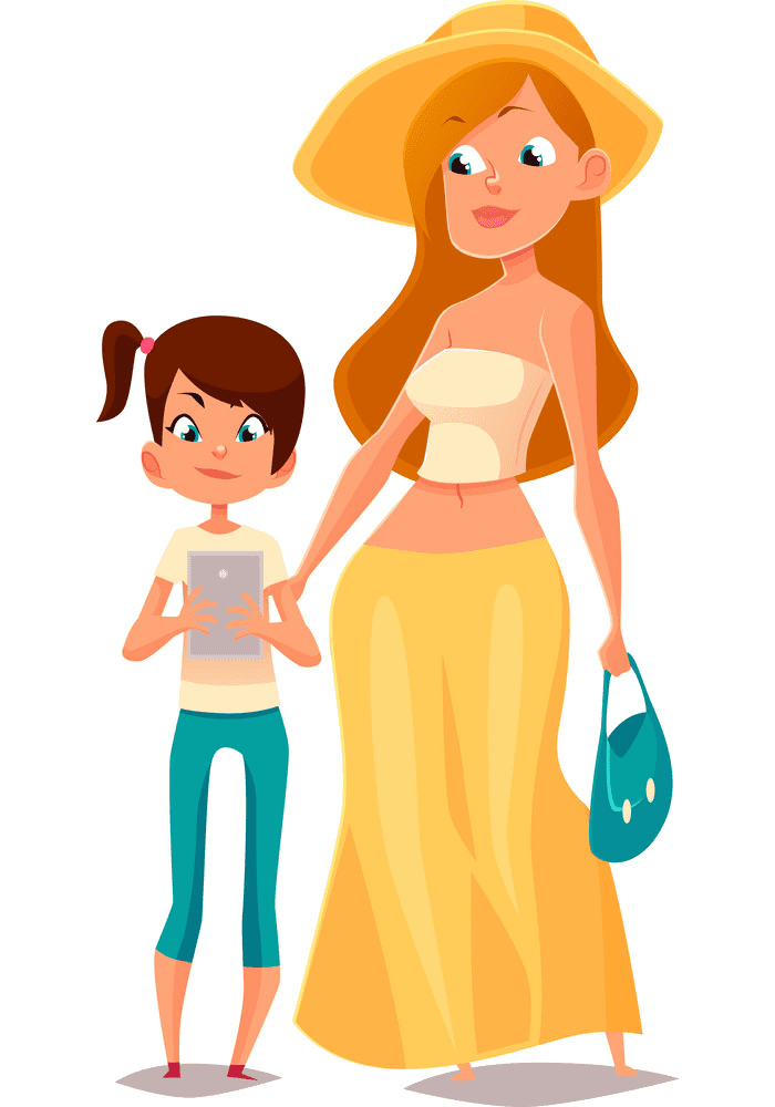 Mom and Daughter clipart 2