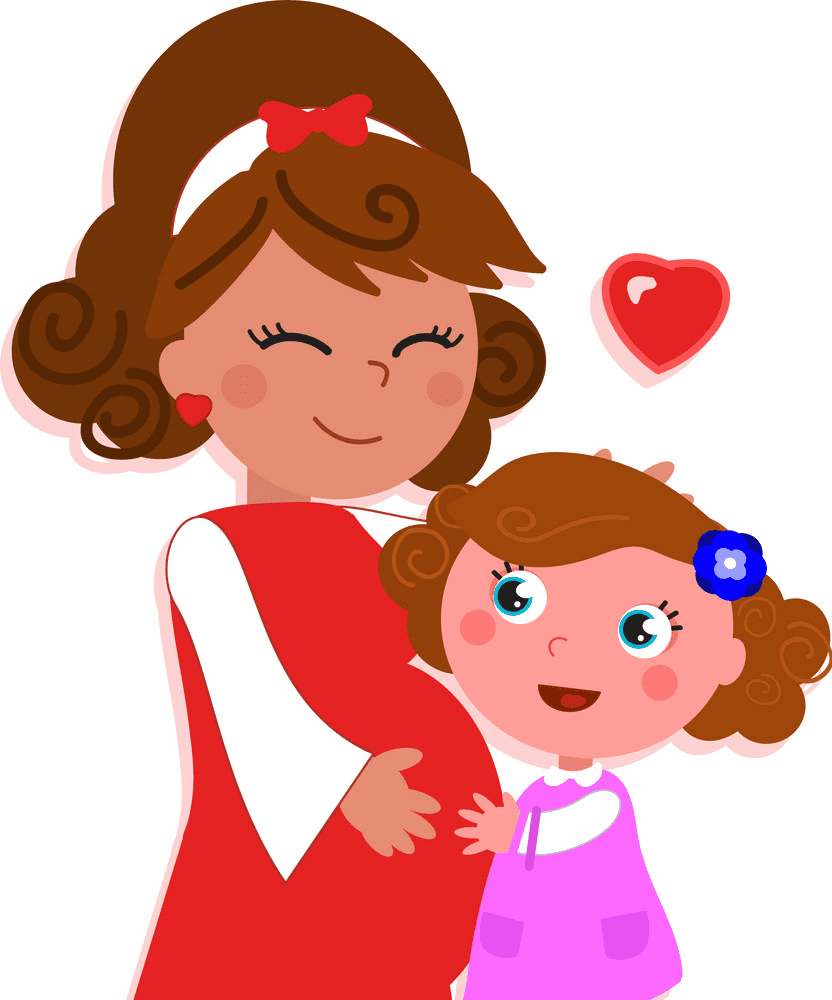 Mom and Daughter clipart free image