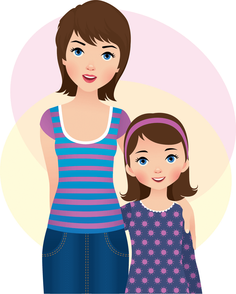 Mom and Daughter clipart free