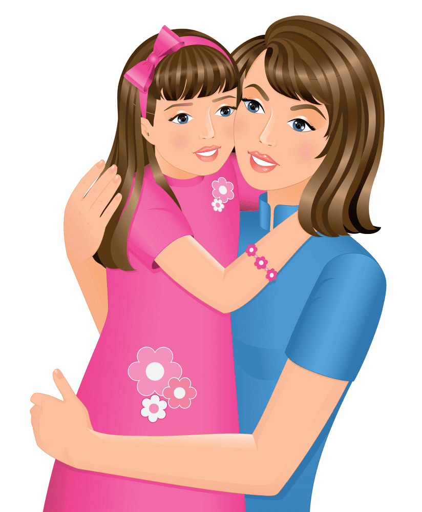Mom and Daughter clipart picture