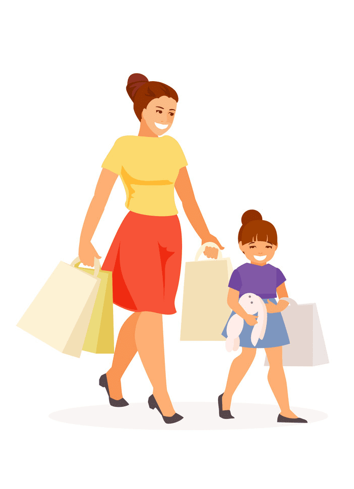 Mom and Daughter clipart png image