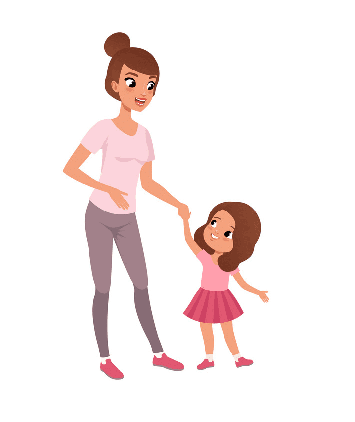 Mom and Daughter clipart png