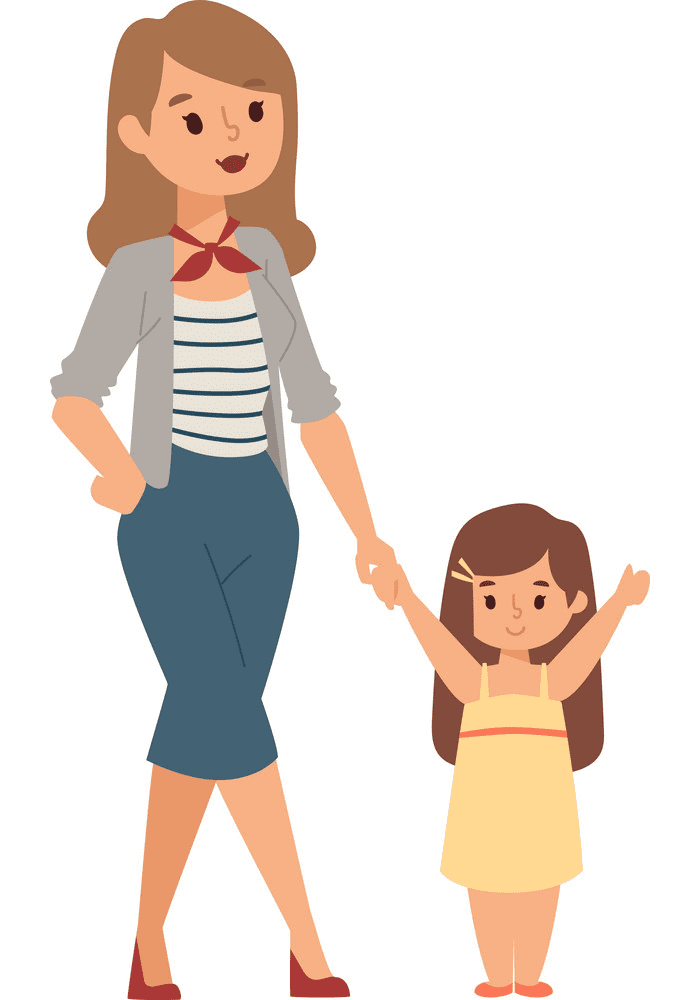 Mom and Daughter clipart