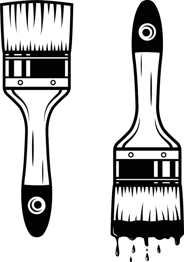 Paintbrush Clipart Black and White 10