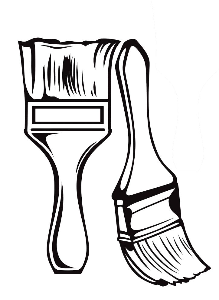 Paintbrush Clipart Black and White image