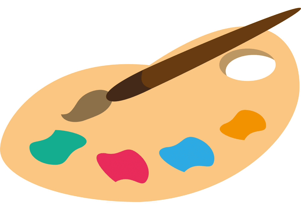 Paintbrush and Palette clipart png free
