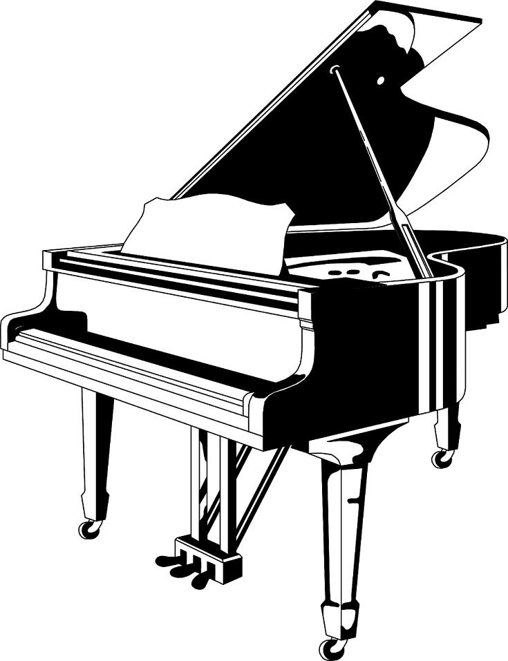 Piano Clipart Blak and White