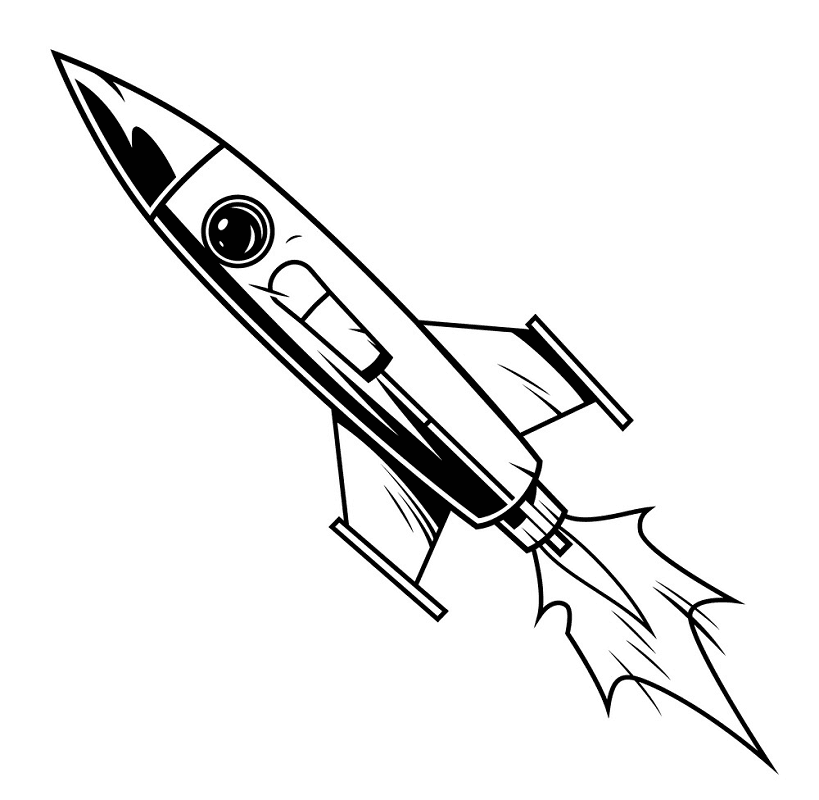 Rocket Black and White clipart 1