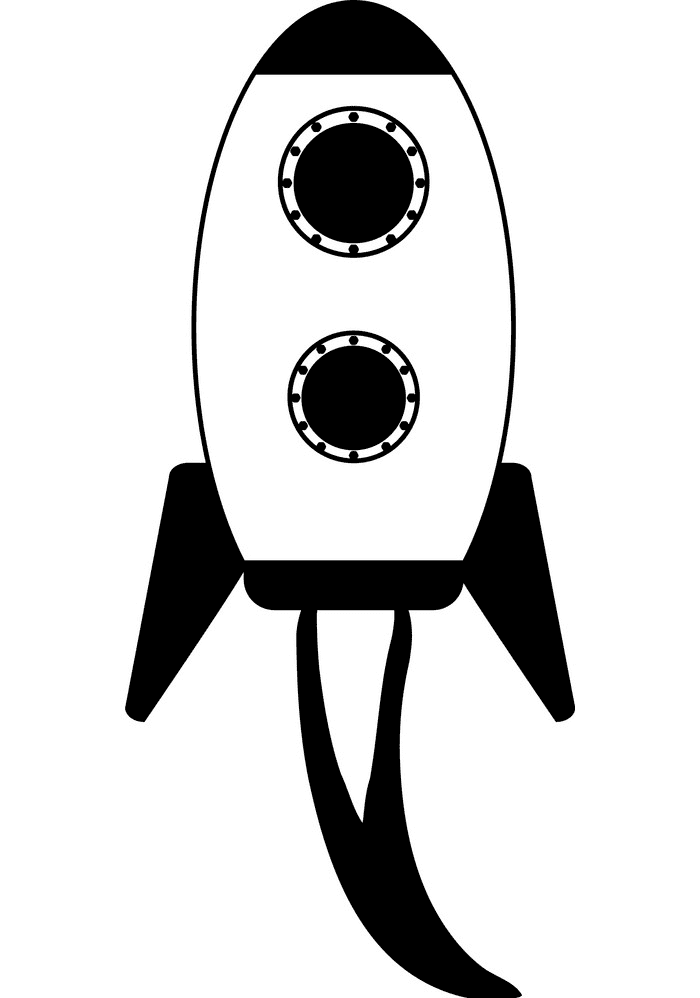 Rocket Black and White clipart 2
