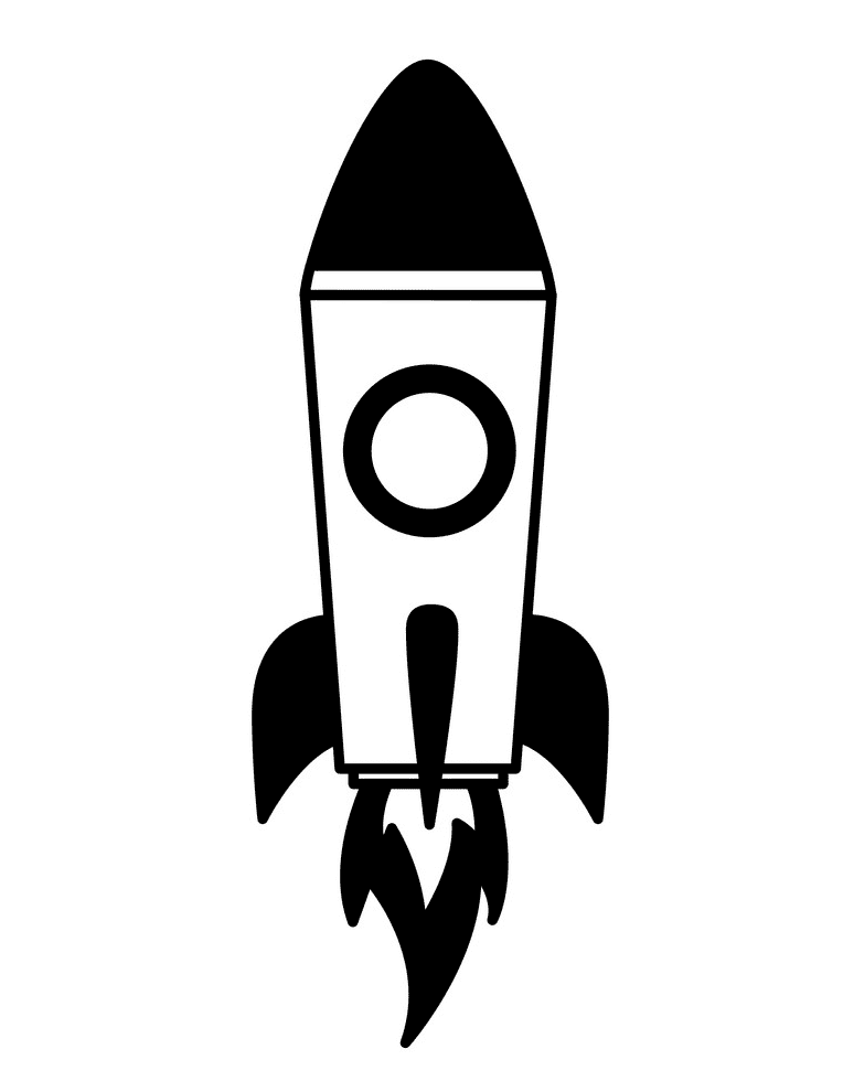 Rocket Black and White clipart 3