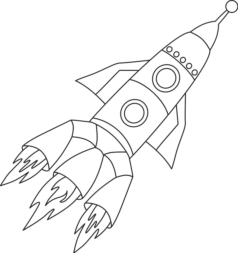 Rocket Black and White clipart free image