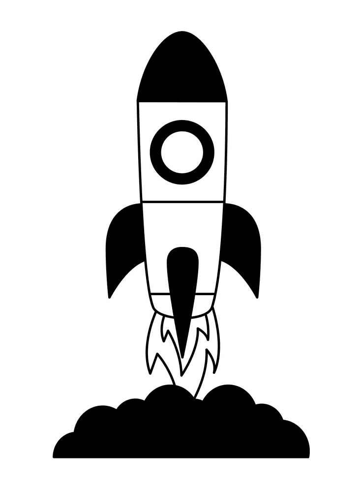 Rocket Black and White clipart free