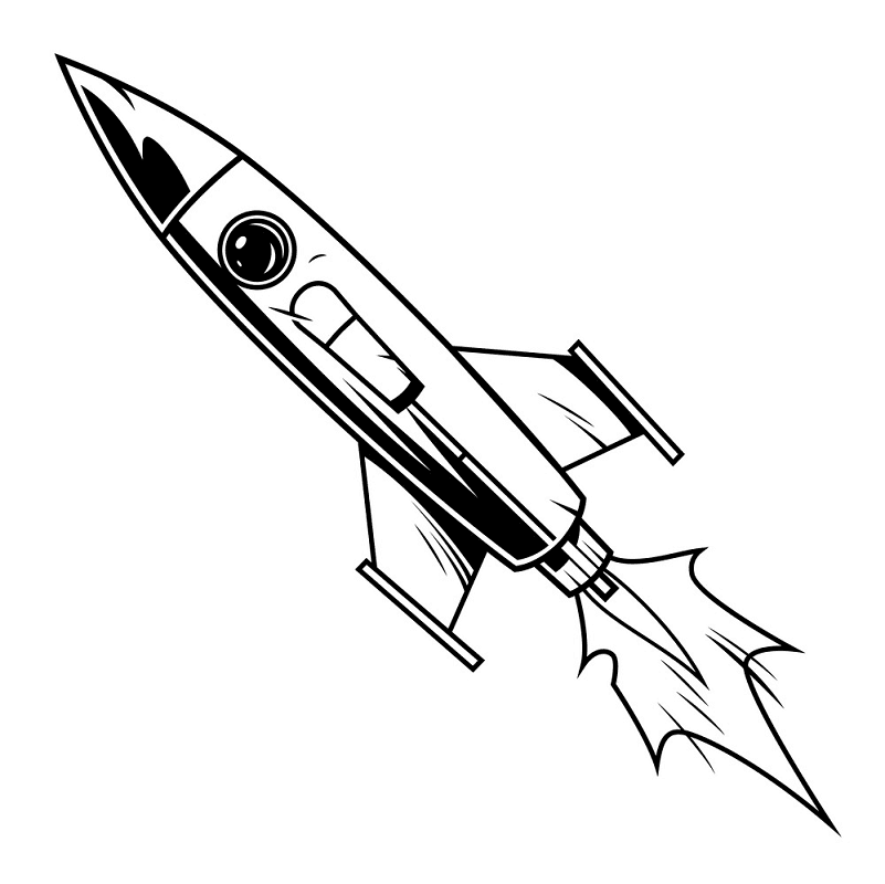Rocket Black and White clipart image