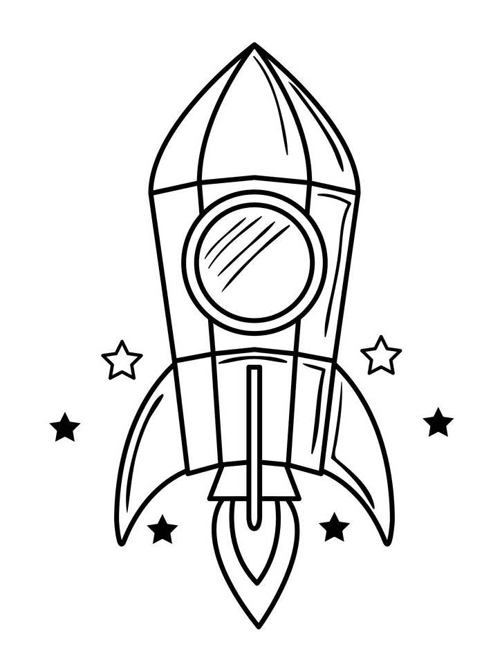 Rocket Black and White clipart png image