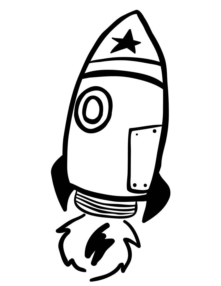 Rocket Black and White clipart