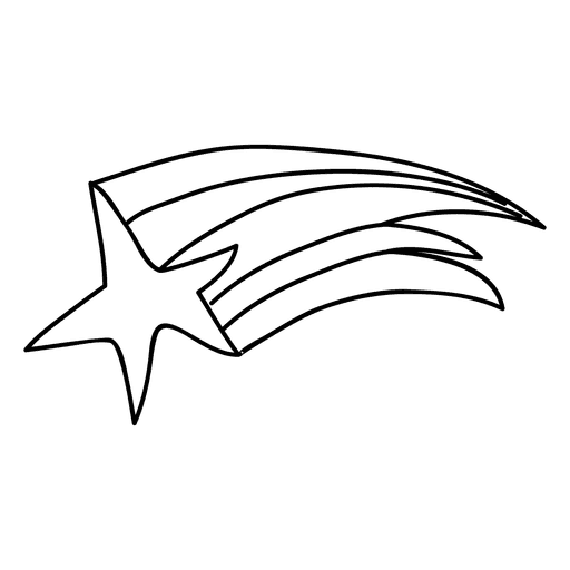 Shooting Star Clipart Black and White 1