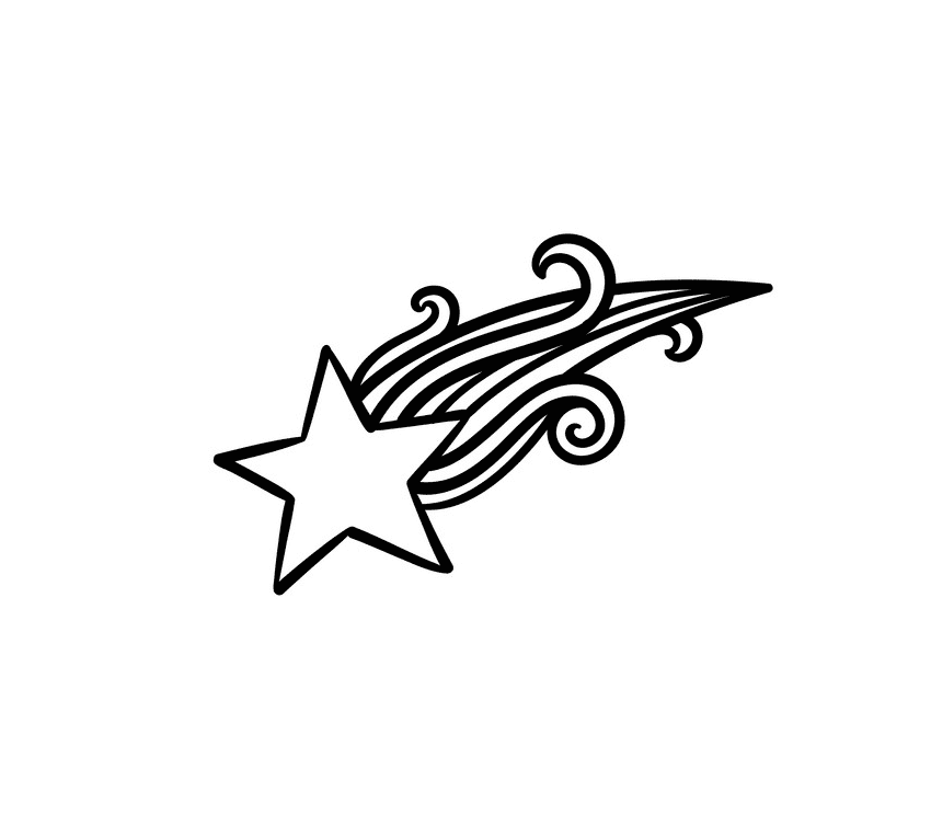 Shooting Star Clipart Black and White png free