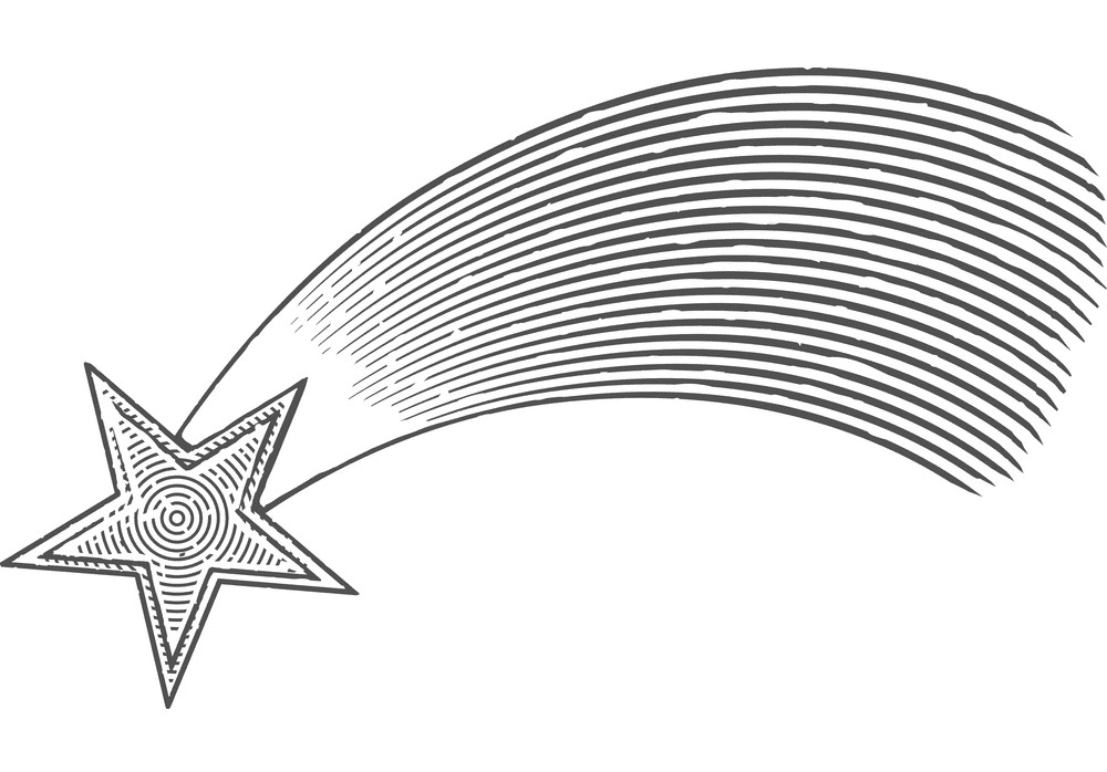 Shooting Star Clipart Black and White png image