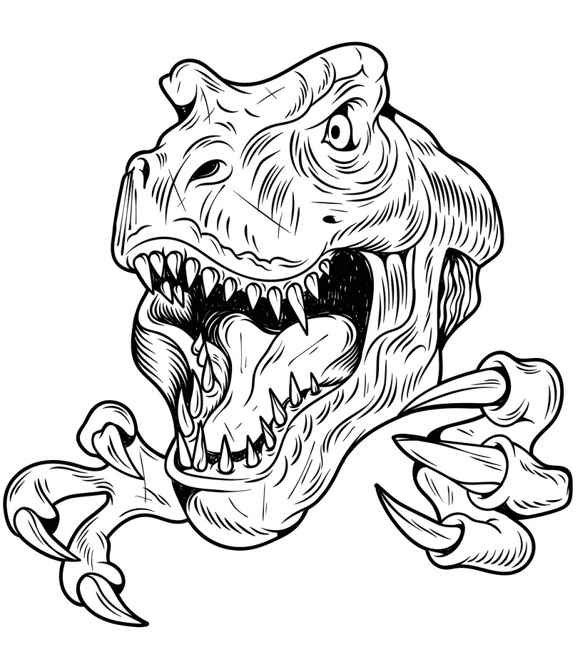 T-Rex Clipart Black and White 1