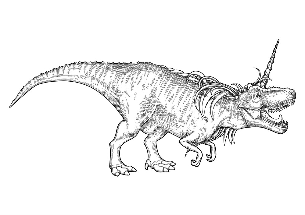 T-Rex Clipart Black and White free image