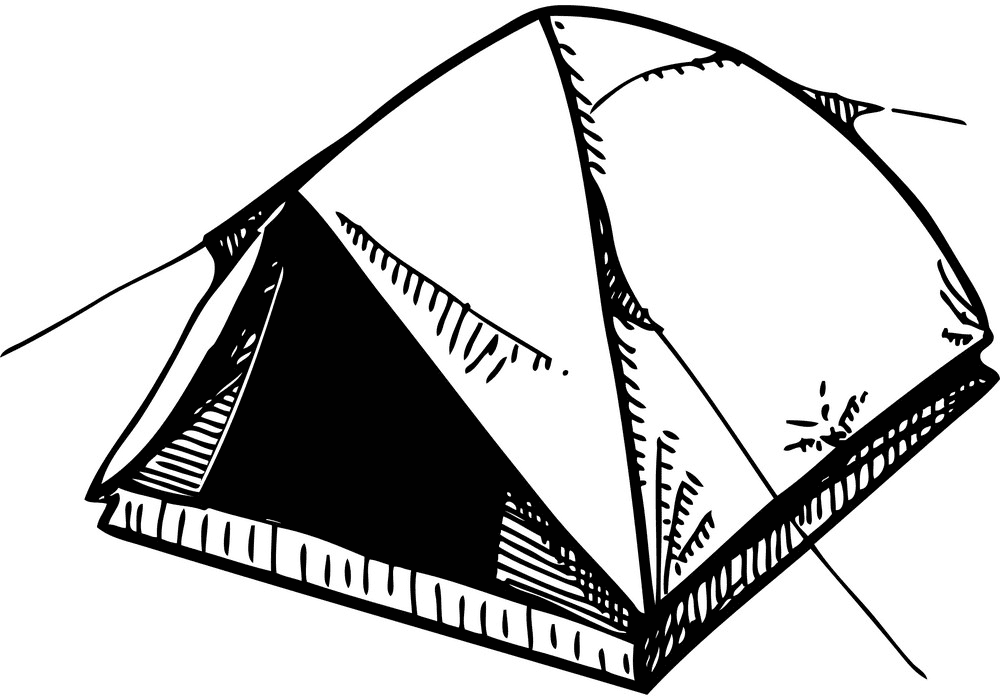 Tent Clipart Black and White 1