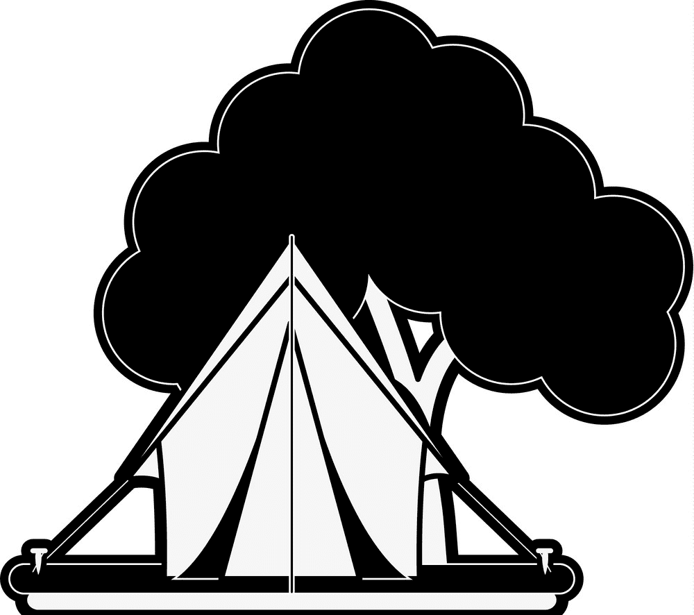Tent Clipart Black and White 2