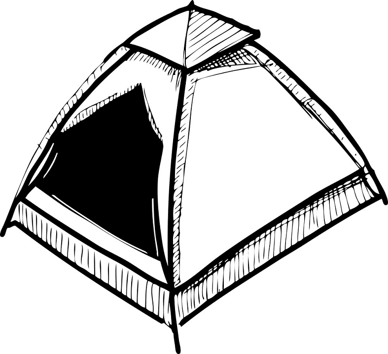 Tent Clipart Black and White free image
