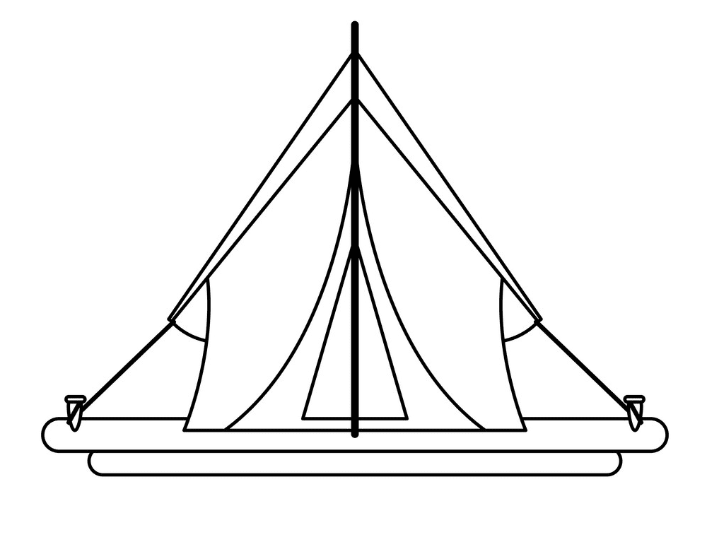 Tent Clipart Black and White free
