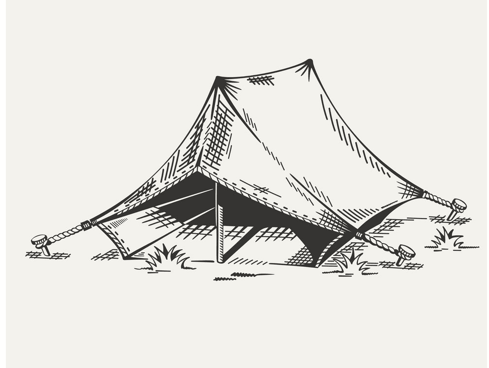 Tent Clipart Black and White image