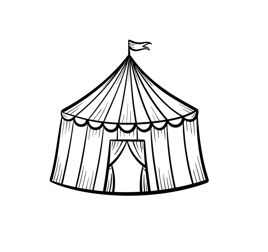 Tent Clipart Black and White images