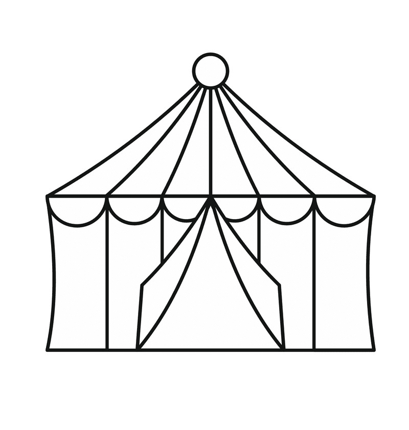 Tent Clipart Black and White png image