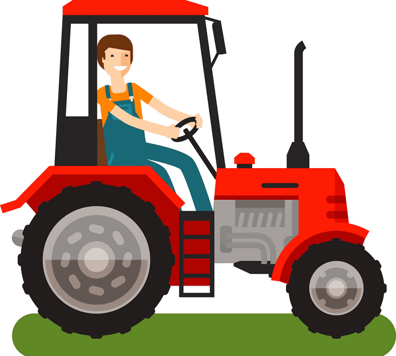 Farmer on Tractor clipart for free